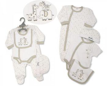 GP1083, Baby 4 Pieces Gift Set - Animals & Stars (Sleepsuit, Short Sleeved Bodyvest, Bib, Hat) £7.35.   PK6..