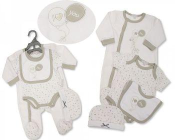GP1082, Baby 4 Pieces Gift Set - I Love You (Sleepsuit, Short Sleeved Bodyvest, Bib, Hat) £7.35.  PK6..