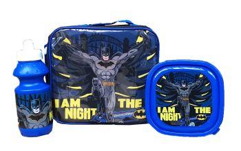 """*Code:9614, Official """"Batman"""" 3pc Lunch Bag Set £3.85.   pk24.."""