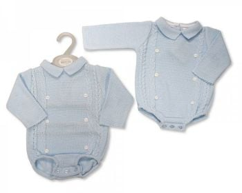 BW1138, Baby Boys Knitted Short Romper with Buttons £10.10.  PK6...