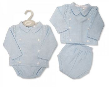 BW1137, Baby Boys Knitted 2 Pieces Set with Buttons £11.00.  PK6...