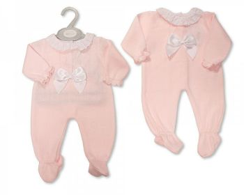 BW1132, Baby Girls Knitted Long Romper with Lace and Bow £10.60.  PK6..