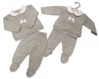 BW1131, Baby Knitted 2 Pieces Set with Bow £11.00.  PK6...