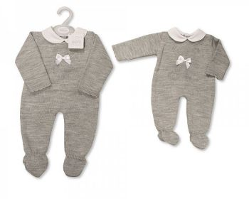 BW1130, Baby Knitted Long Romper with Bow £10.40.  PK6...