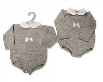 BW1129, Baby Knitted Short Romper with Bow £10.40.  PK6...