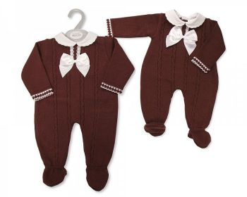 BW1128, Baby Knitted Long Romper with Lace and Bow £11.00.   PK6...