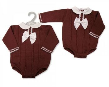 BW1127, Baby Knitted Short Romper with Lace and Bow £11.00.   PK6...