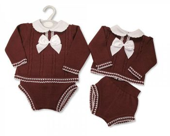 BW1126, Baby Knitted 2 Pieces Set with Lace and Bow £10.80.   PK6...