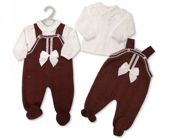 BW1125, Baby Knitted 2 Pieces Long Dungaree Set with Lace and Bow £12.75.   PK6...