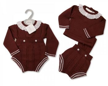 BW1124, Baby Knitted 2 Pieces Short Dungaree Set with Lace £11.25.   PK6...