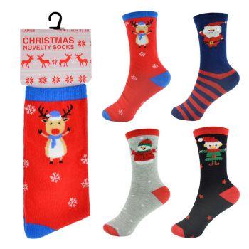 SK254A, Ladies Xmas Design Socks £7.00 a dozen.  10 dozen....