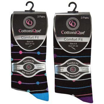 41B616, Ladies 3 Pack Non Elastic Design Socks £1.95.   72pks...