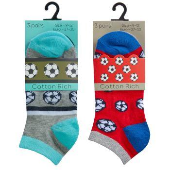 42B703, Boys 3 Pack Trainer Liner Design Socks £1.35.  96pks...