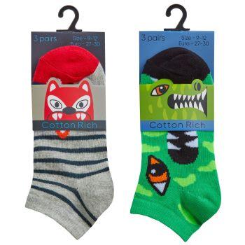 42B705, Boys 3 Pack Trainer Liner Design Socks £1.35.  96pks...