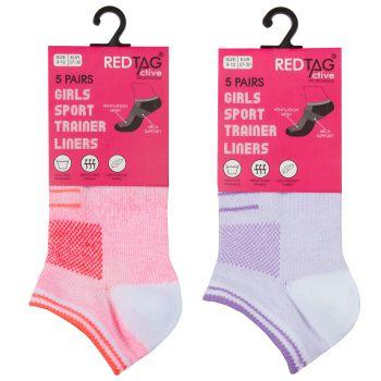 43B699, Girls 5 Pack Mesh Insert Trainer Socks -Marl £1.85.  96pks...