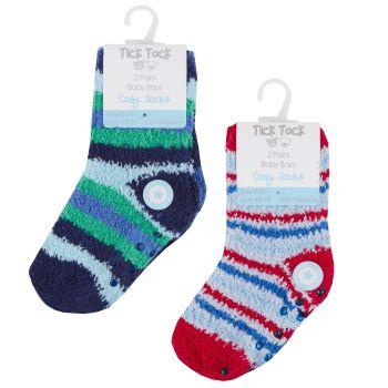 44B762, Baby Boys 2pk Design Cosy Socks With Gripper £1.25.   96pks...