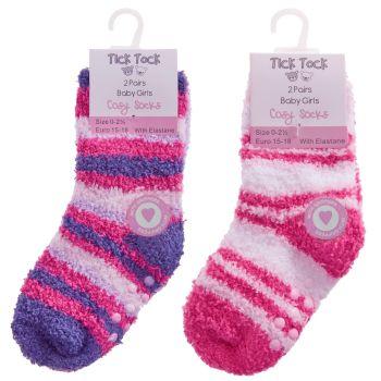 44B838, Baby Girls 2pk Design Cosy Socks With Gripper £1.25.   96pks...