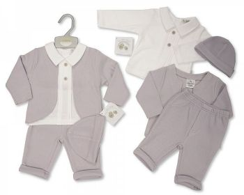 BIS2447, Baby 3 Pieces Set with Hat (Trousers, Shirt, Jacket, Hat) £8.95.  PK6..