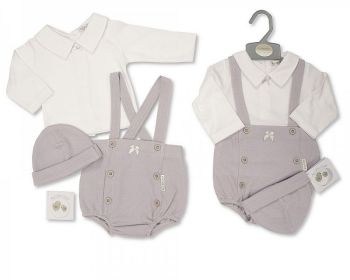 BIS2446, Baby 2 Pieces Short Dungaree Set with Bow and Hat £8.55.  PK6..