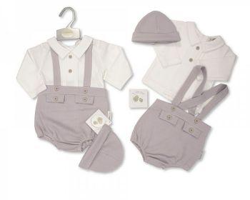 BIS2444, Baby 2 Pieces Short Dungaree Set with Hat £8.55.  PK6..