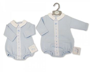 BIS2428, Baby Boys Romper with Lace and Bow £7.35.  PK6..