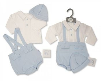 BIS2429, Baby Boys 2 Pieces Dungaree Set with Hat £8.60.  PK6...