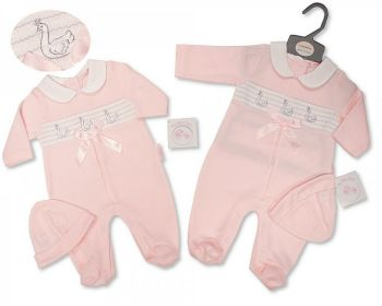 BIS2423, Baby Girls All in One with Bow and Hat - Swan £8.10.  PK6..