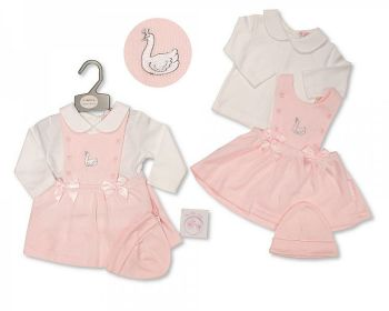 BIS2422, Baby Girls 2 Pieces Dress Set with Bows and Hat - Swan £9.15.  PK6...