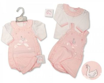 BIS2421, Baby Girls 2 Pieces Romper Set with Bow and Hat - Swan £9.15.  PK6...