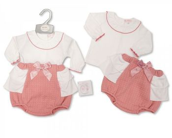 BIS2420, Baby Girls 2 Pieces Short Set with Bow £8.10.  PK6...