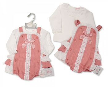 BIS2419, Baby Girls 2 Pieces Dress Set with Lace and Bow £11.20.  PK6...