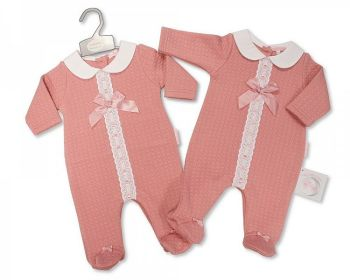 BIS2418, Baby Girls All in One with Lace and Bow £7.65.  PK6...