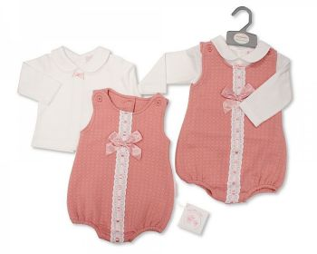 BIS2416, Baby Girls 2 Pieces Romper Set with Lace and Bow £9.15.  PK6...