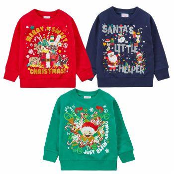 *11C161, Kids Christmas Sweatshirt Jumper £4.95.  pk24..