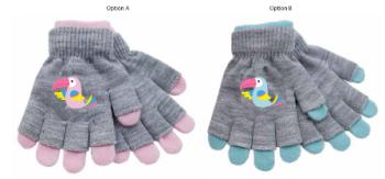 GL918, Kids 2 in 1 Magic Gloves- Bird Print £1.25.    pk24....