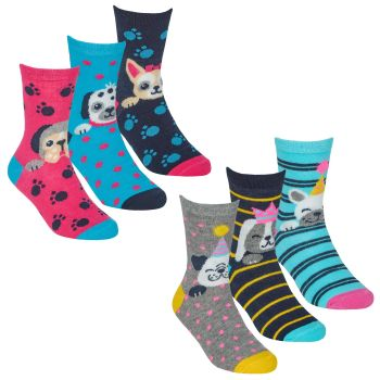 43B732, Girls 3 in a pack cotton rich design socks £1.35.  24pks...