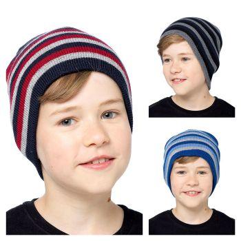 GL165, Kids striped beanie hat £1.10.  PK36.....