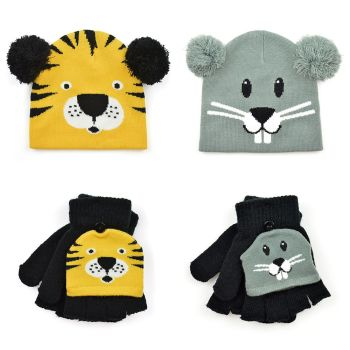 *GL900, Kids Novelty Animal Hat & Mitten Set £2.40.  pk24..