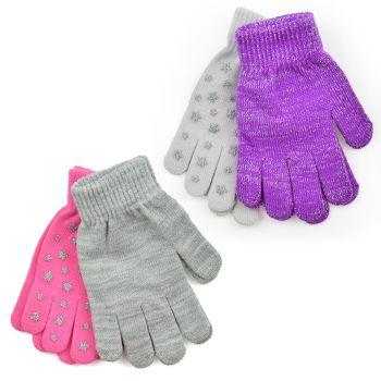 GL917A, Girls 2 pack Magic Glitter Star Gloves £1.25.   48pks....