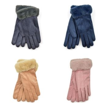 GL861, Ladies Sherpa Lined Winter Gloves- Assorted £3.40.  pk24.....