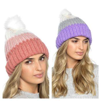 GL864, Ladies Striped Bobble Hat £2.60.   pk12....