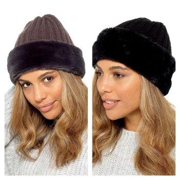 GL878, Ladies Hat With Faux Fur Trim £2.70.   pk24....