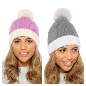 GL885, Ladies Striped Knitted Bobble Hat £2.85.   pk24....