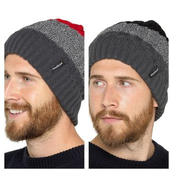 GL614, Mens Striped Hat With Fleece Lining £2.30.   pk24...