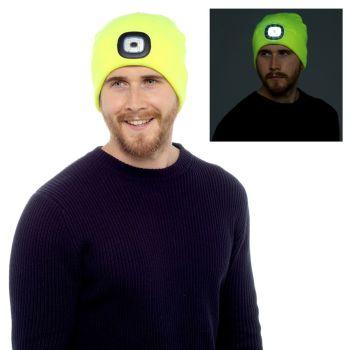 GL622, Mens Neon Yellow LED Hat £2.75.  pk60....