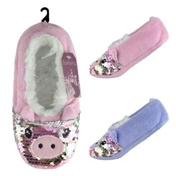 SK537, Ladies Pig Design Slipper Socks With Sequins £2.65.  pk24....