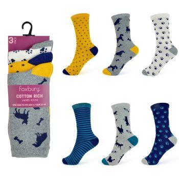 SK256, Ladies Cotton Rich Design Socks £5.95 a dozen.   24 Dozen....