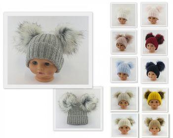 BW332-SM, Baby Hat with Double Pom-Pom £6.60.  PK6...