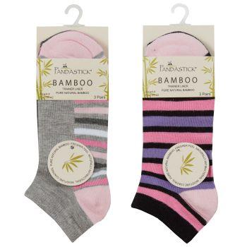 41B541, Ladies 3pk Bamboo Design Trainer Liner Socks £1.45.   48pks...
