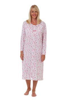 """MA29407, """"Marlon"""" Ladies Button Thru Long Sleeve Jersey Nightdress £8.50.   pk2..."""